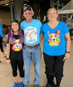 Happy Customers wearing Corgi Dog Breed Shirts made by ownedbymydog.com