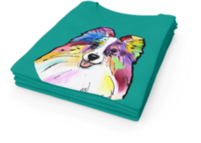 Colorful Dog Breed Design printed on a T-Shirt